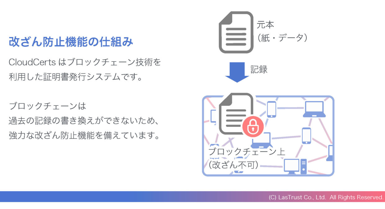 ブロックチェーン証明書の改ざん防止機能